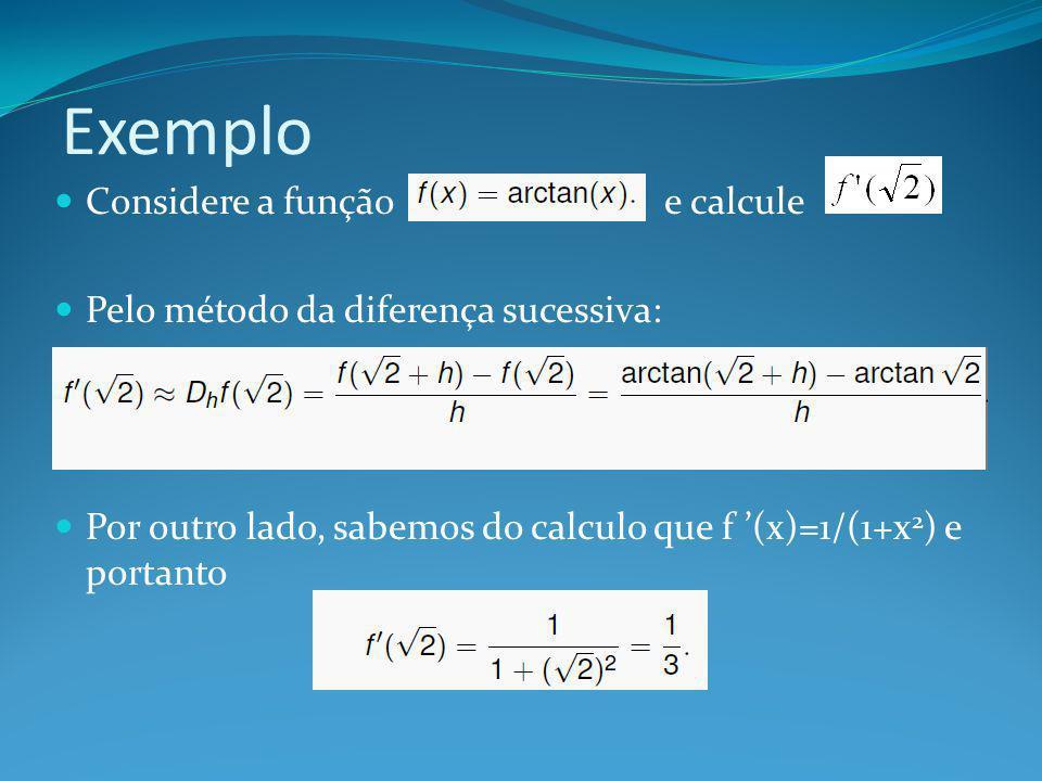 Exemplo Considere a função e calcule