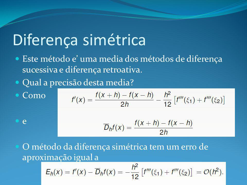 Diferença simétrica Este método e' uma media dos métodos de diferença sucessiva e diferença retroativa.
