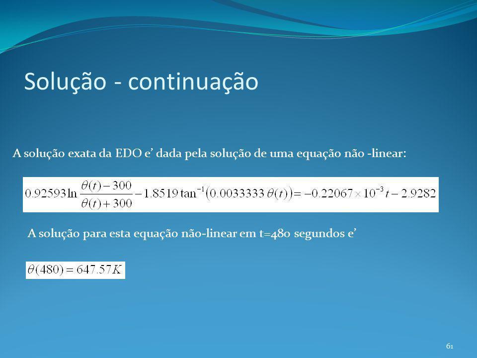 Solução - continuação A solução exata da EDO e' dada pela solução de uma equação não -linear: