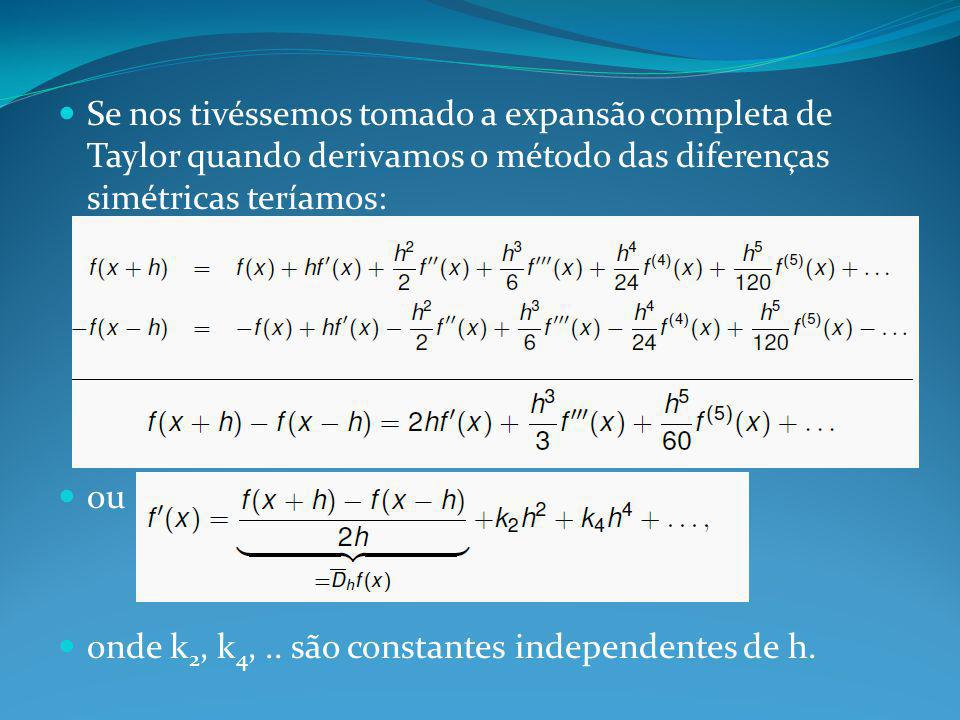 Se nos tivéssemos tomado a expansão completa de Taylor quando derivamos o método das diferenças simétricas teríamos: