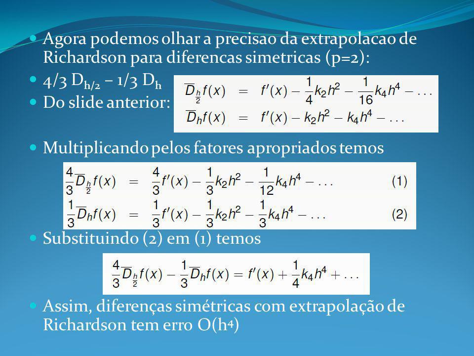 Agora podemos olhar a precisao da extrapolacao de Richardson para diferencas simetricas (p=2):