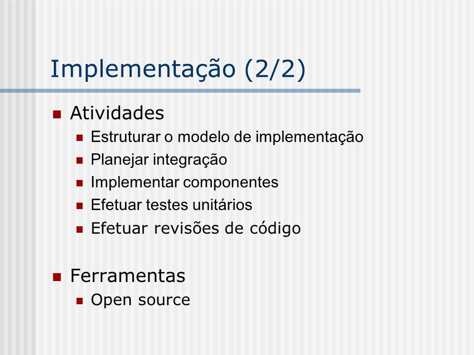 Implementação (2/2) Atividades Ferramentas