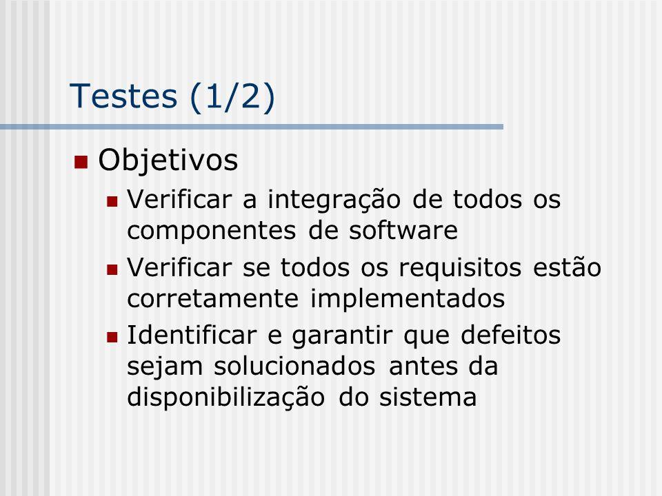 Testes (1/2) Objetivos. Verificar a integração de todos os componentes de software.