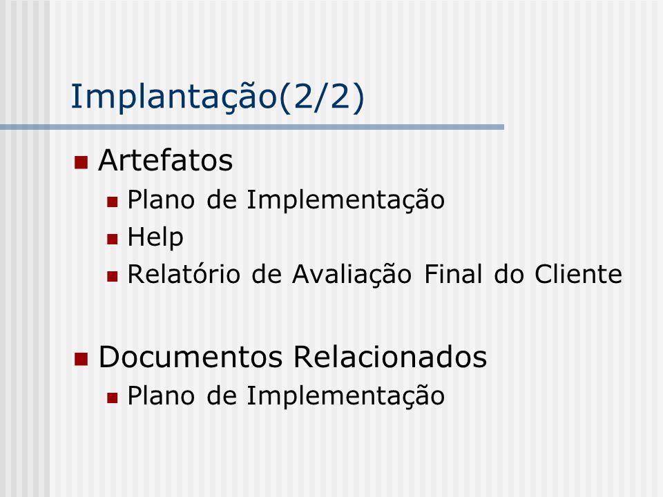 Implantação(2/2) Artefatos Documentos Relacionados