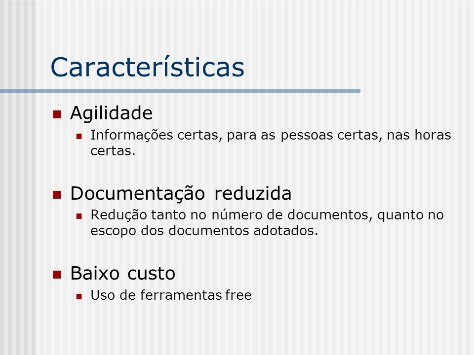 Características Agilidade Documentação reduzida Baixo custo