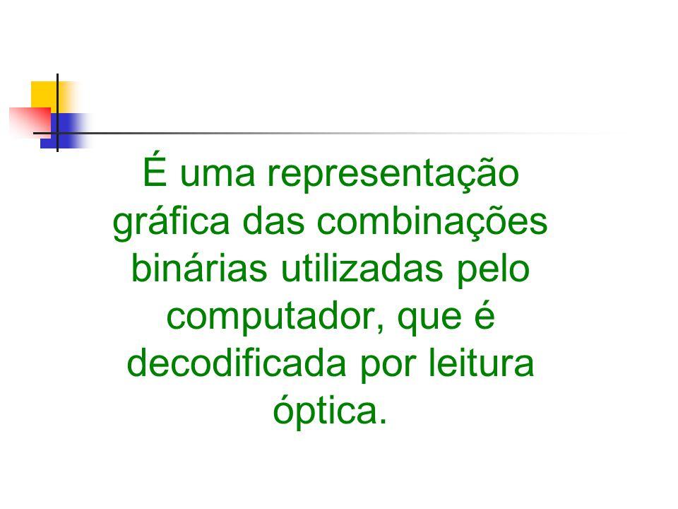 É uma representação gráfica das combinações binárias utilizadas pelo computador, que é decodificada por leitura óptica.