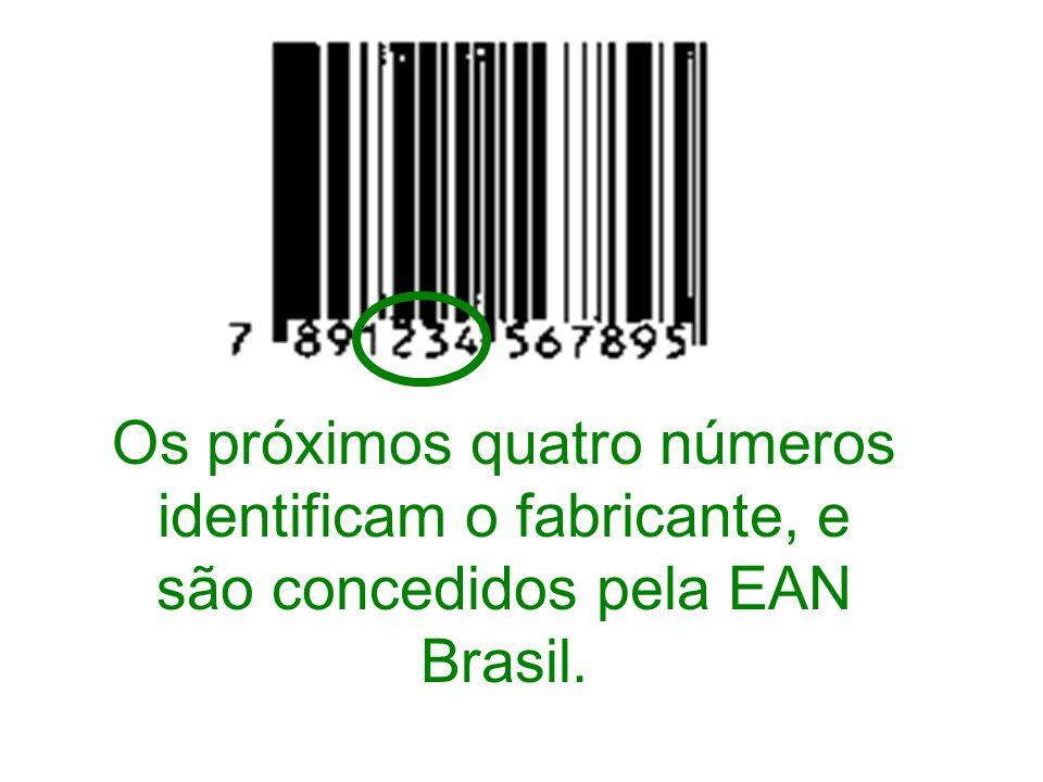 Os próximos quatro números identificam o fabricante, e são concedidos pela EAN Brasil.