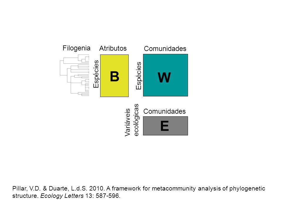 B W E Filogenia Atributos Comunidades Espécies Espécies