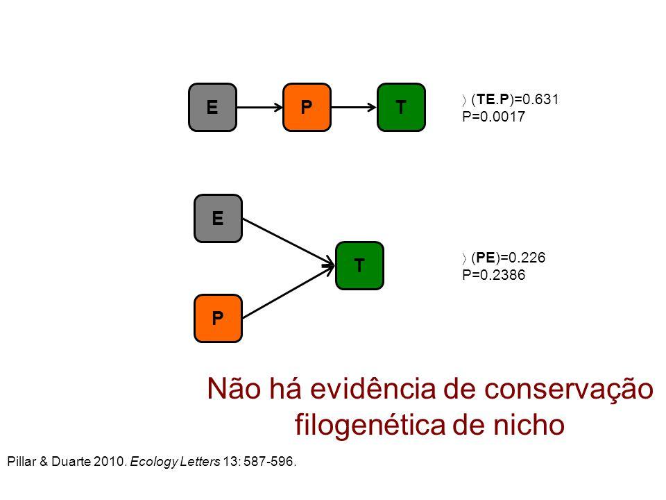 Não há evidência de conservação filogenética de nicho