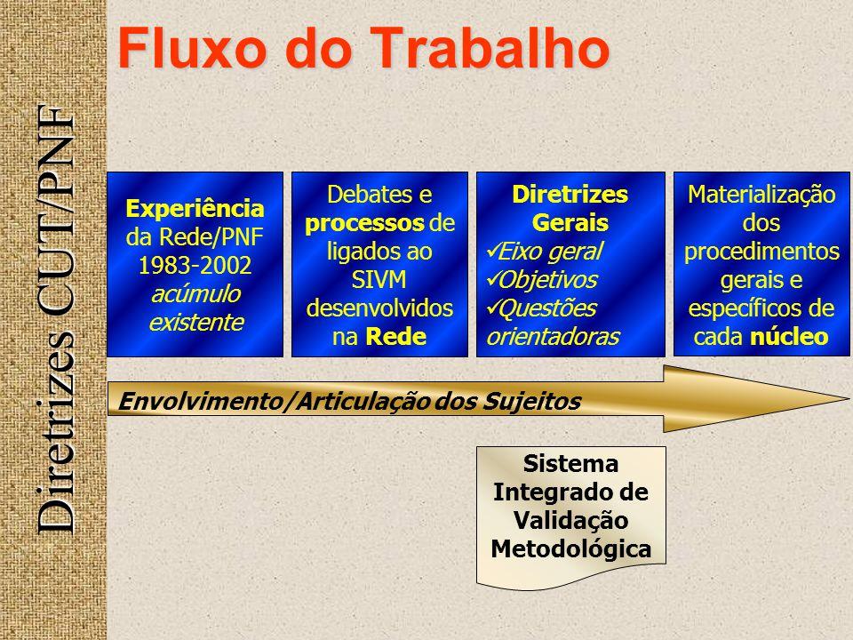 Fluxo do Trabalho Diretrizes CUT/PNF Experiência da Rede/PNF 1983-2002