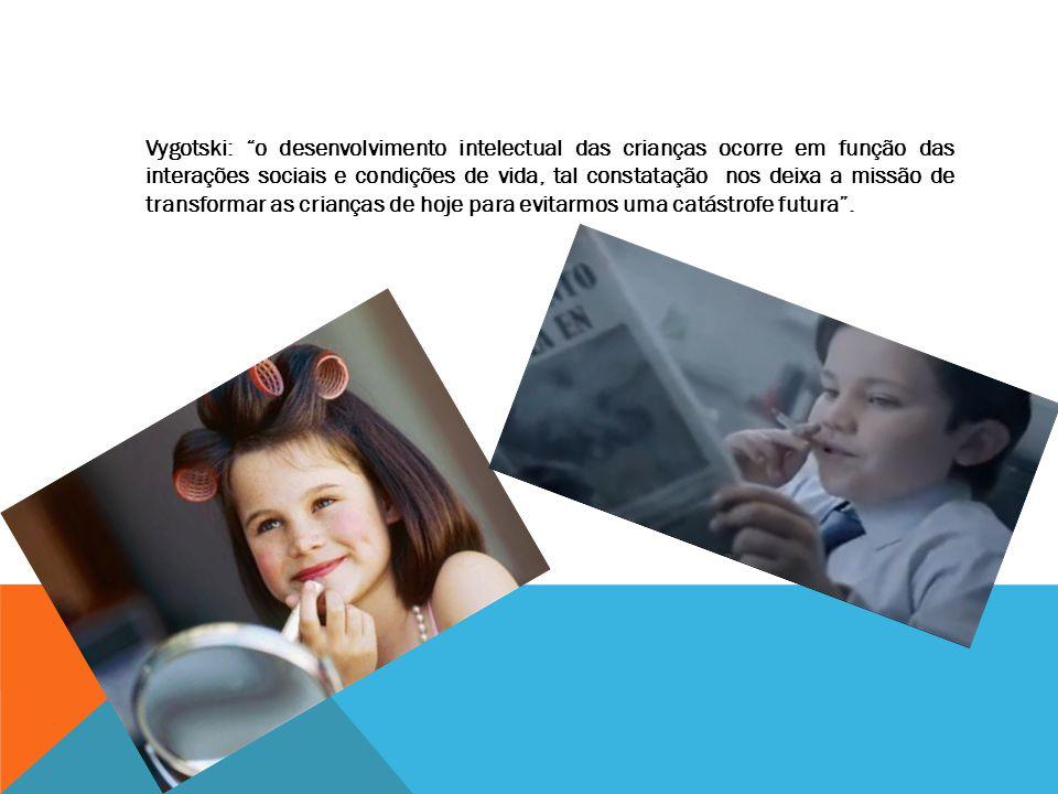 Vygotski: o desenvolvimento intelectual das crianças ocorre em função das interações sociais e condições de vida, tal constatação nos deixa a missão de transformar as crianças de hoje para evitarmos uma catástrofe futura .