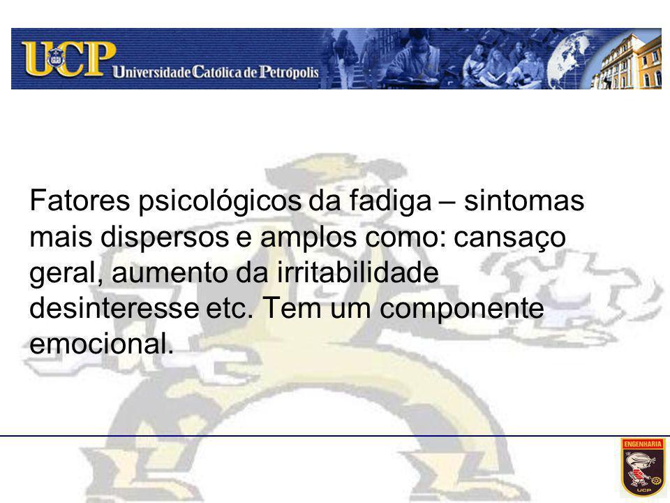 Fatores psicológicos da fadiga – sintomas mais dispersos e amplos como: cansaço geral, aumento da irritabilidade desinteresse etc.