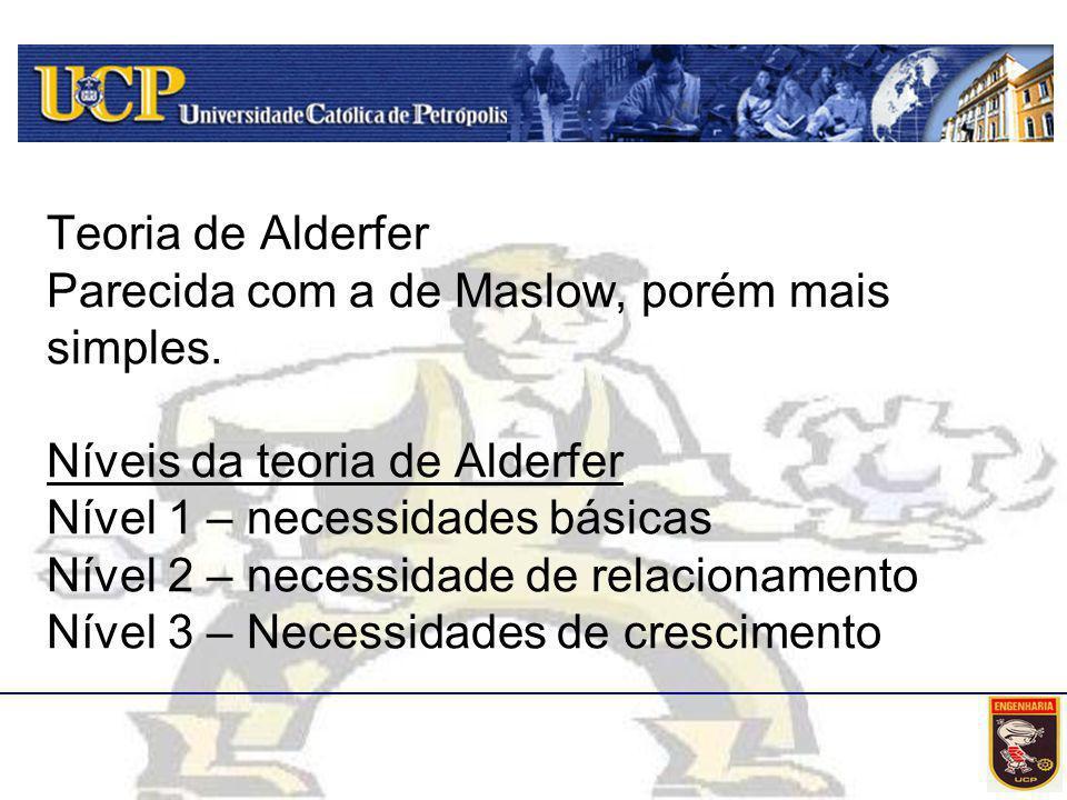 Teoria de Alderfer Parecida com a de Maslow, porém mais simples