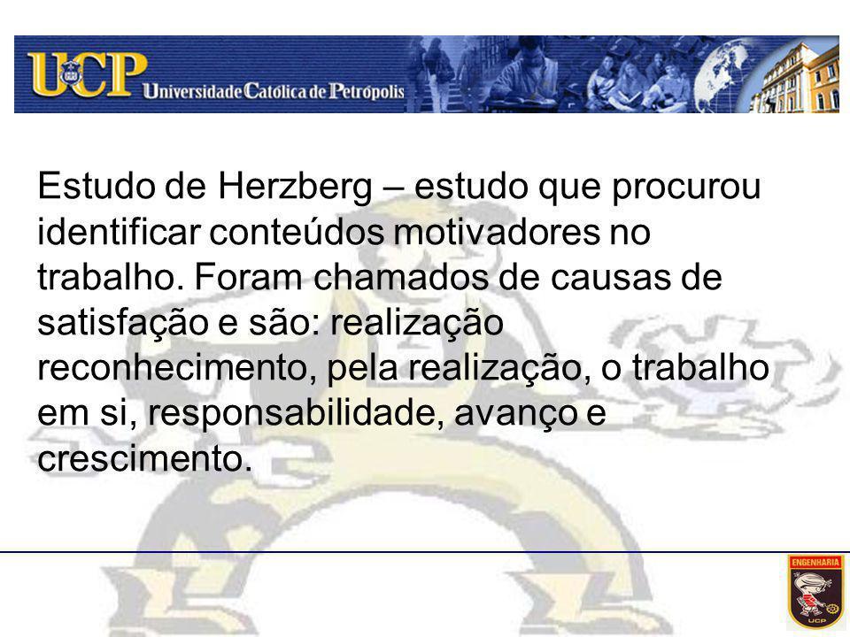 Estudo de Herzberg – estudo que procurou identificar conteúdos motivadores no trabalho.