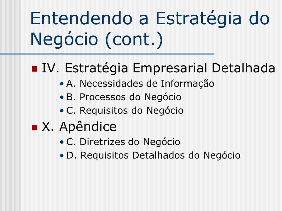 Entendendo a Estratégia do Negócio (cont.)