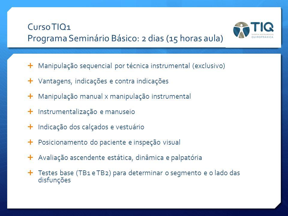 Curso TIQ1 Programa Seminário Básico: 2 dias (15 horas aula)