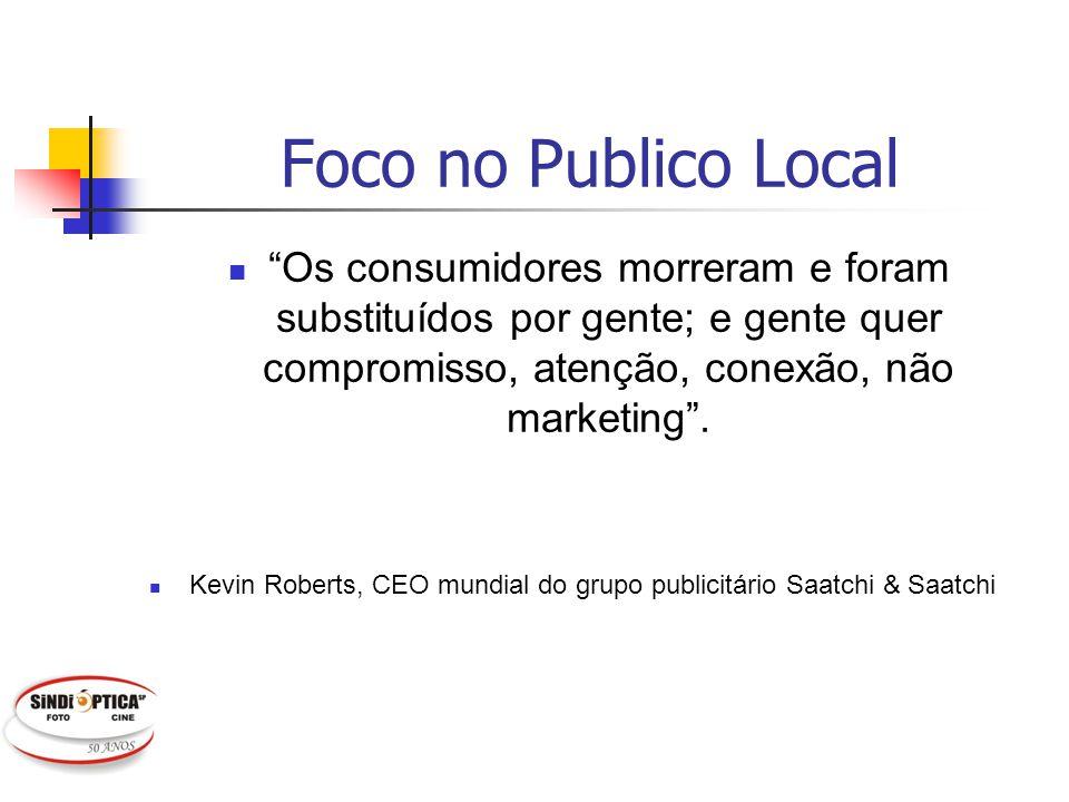 Foco no Publico Local Os consumidores morreram e foram substituídos por gente; e gente quer compromisso, atenção, conexão, não marketing .