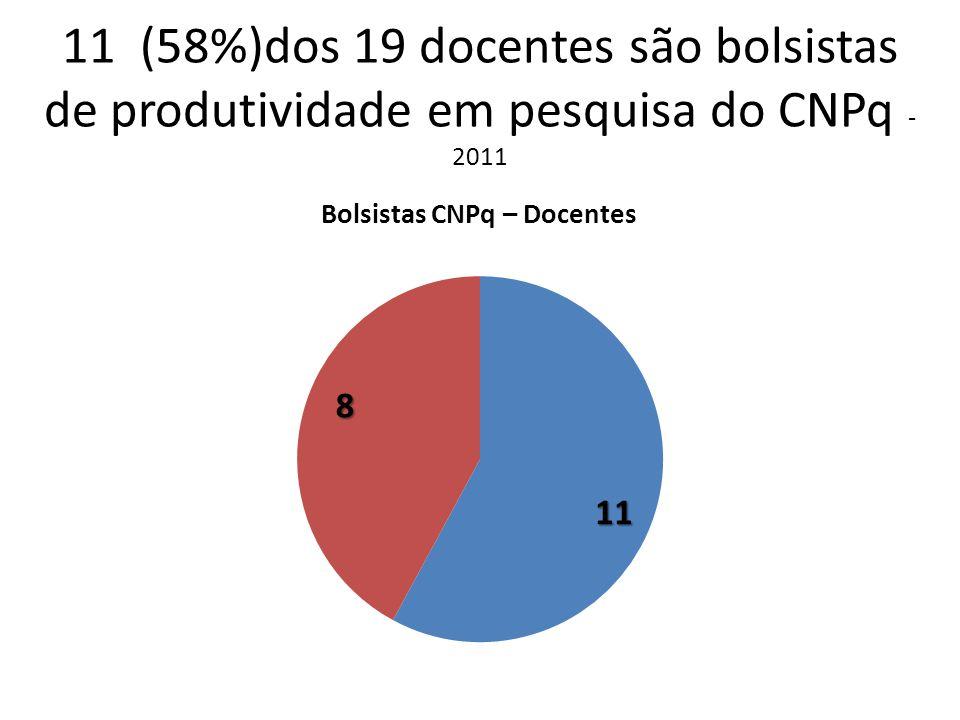 11 (58%)dos 19 docentes são bolsistas de produtividade em pesquisa do CNPq - 2011