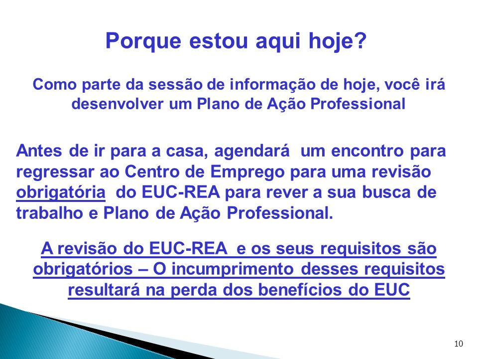 Porque estou aqui hoje Como parte da sessão de informação de hoje, você irá desenvolver um Plano de Ação Professional.