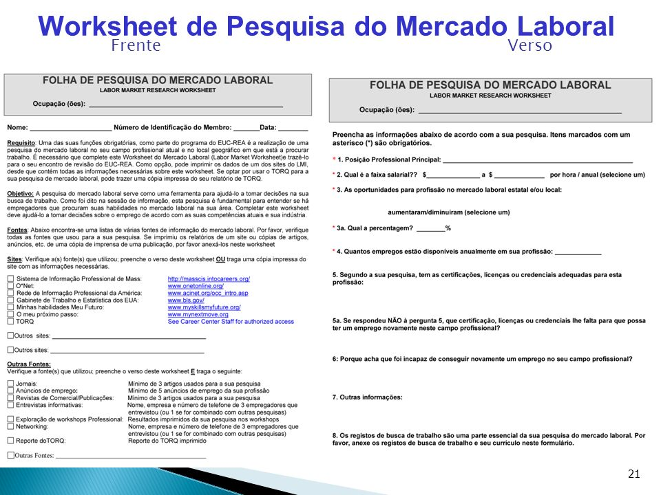 Worksheet de Pesquisa do Mercado Laboral
