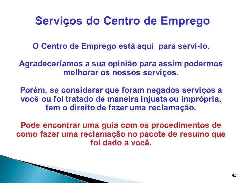 Serviços do Centro de Emprego