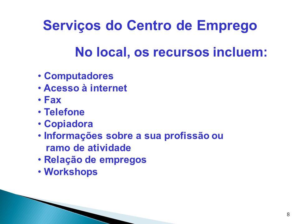 Serviços do Centro de Emprego No local, os recursos incluem: