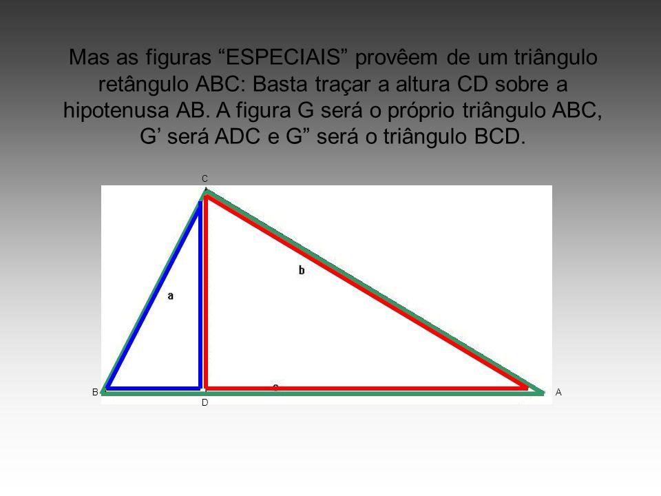 Mas as figuras ESPECIAIS provêem de um triângulo retângulo ABC: Basta traçar a altura CD sobre a hipotenusa AB. A figura G será o próprio triângulo ABC, G' será ADC e G será o triângulo BCD.