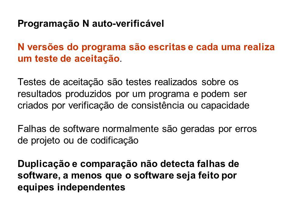 Programação N auto-verificável N versões do programa são escritas e cada uma realiza um teste de aceitação.