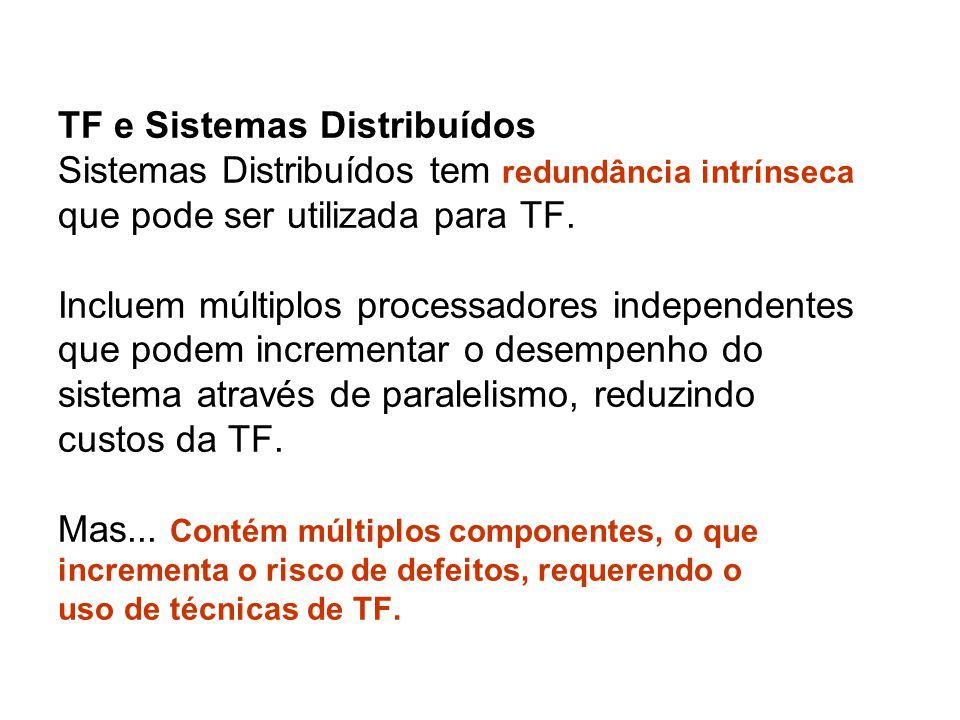 TF e Sistemas Distribuídos Sistemas Distribuídos tem redundância intrínseca que pode ser utilizada para TF.