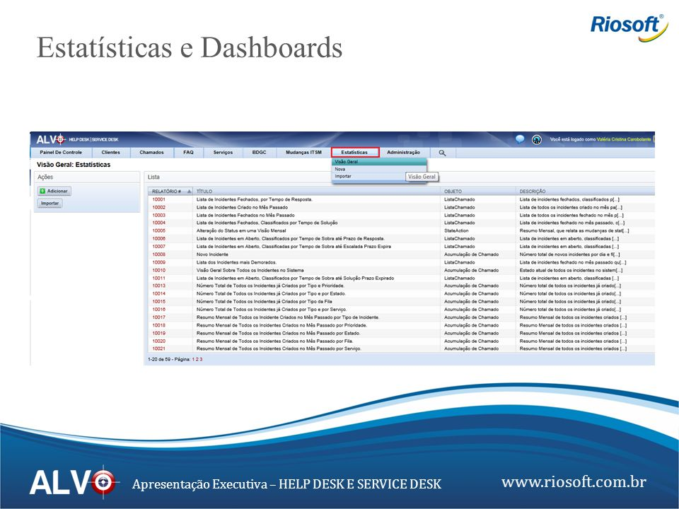 Estatísticas e Dashboards