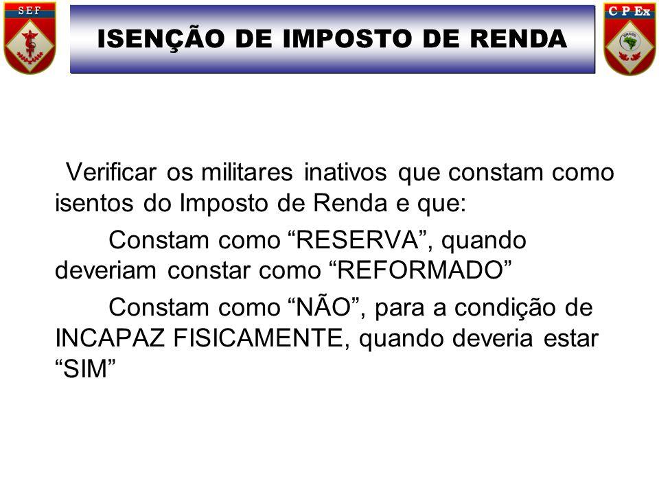 ISENÇÃO DE IMPOSTO DE RENDA