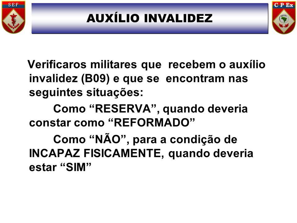 AUXÍLIO INVALIDEZ Verificaros militares que recebem o auxílio invalidez (B09) e que se encontram nas seguintes situações: