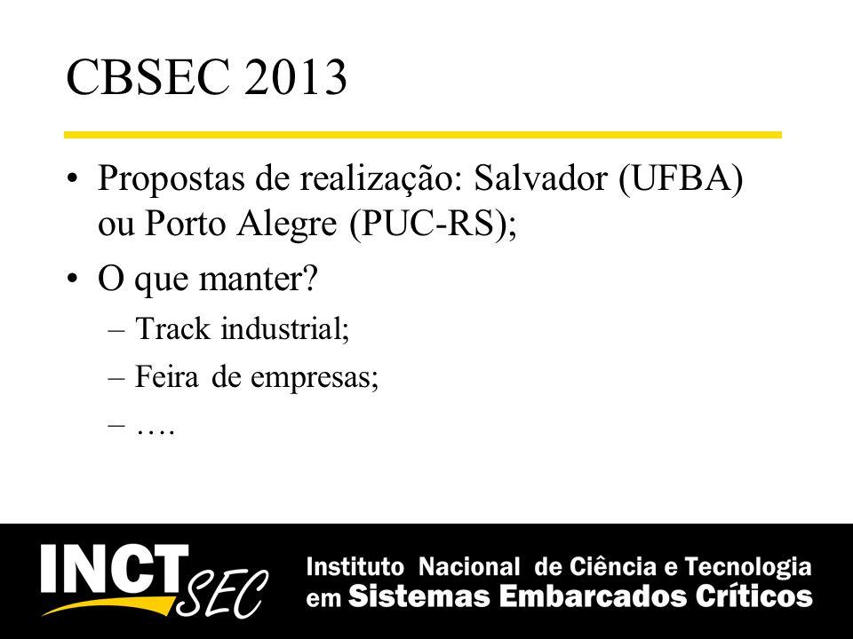 CBSEC 2013 Propostas de realização: Salvador (UFBA) ou Porto Alegre (PUC-RS); O que manter Track industrial;