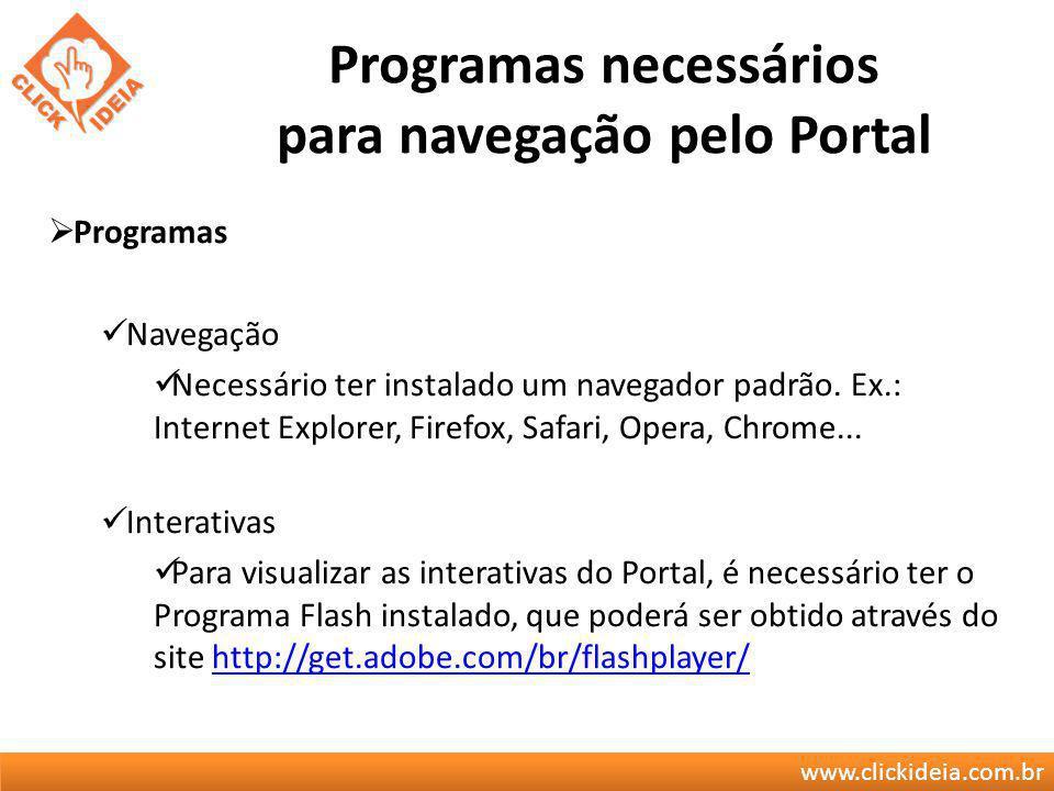 Programas necessários para navegação pelo Portal