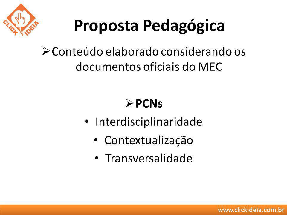 Proposta Pedagógica Conteúdo elaborado considerando os documentos oficiais do MEC. PCNs. Interdisciplinaridade.