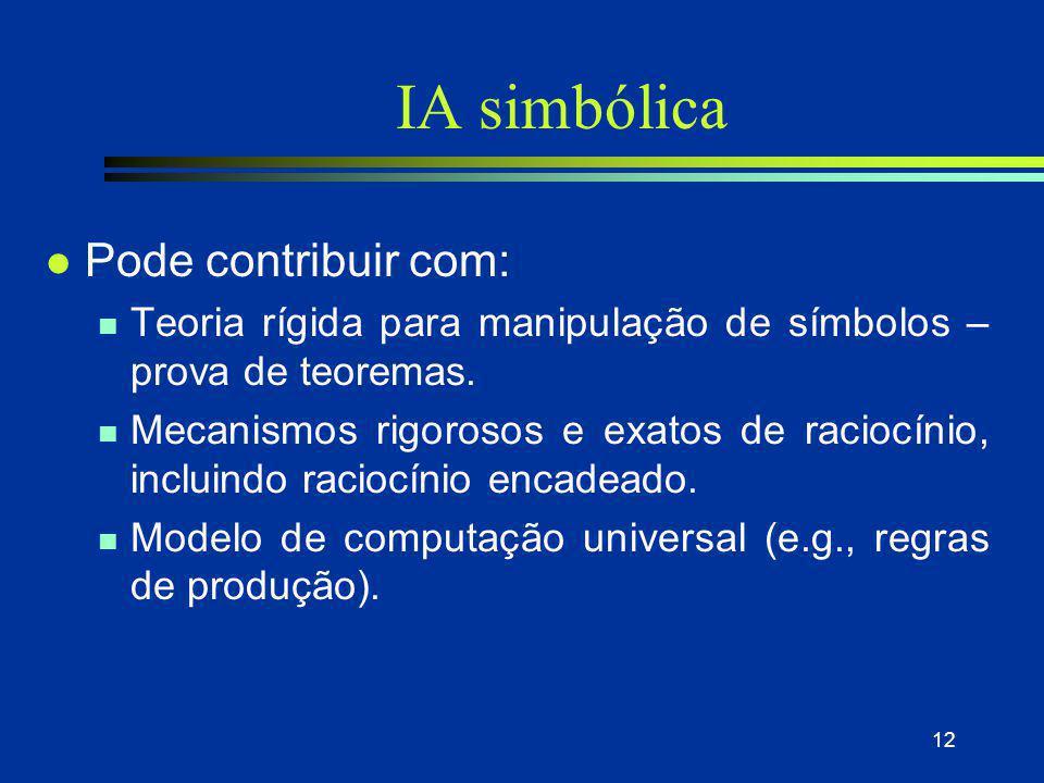 IA simbólica Pode contribuir com: