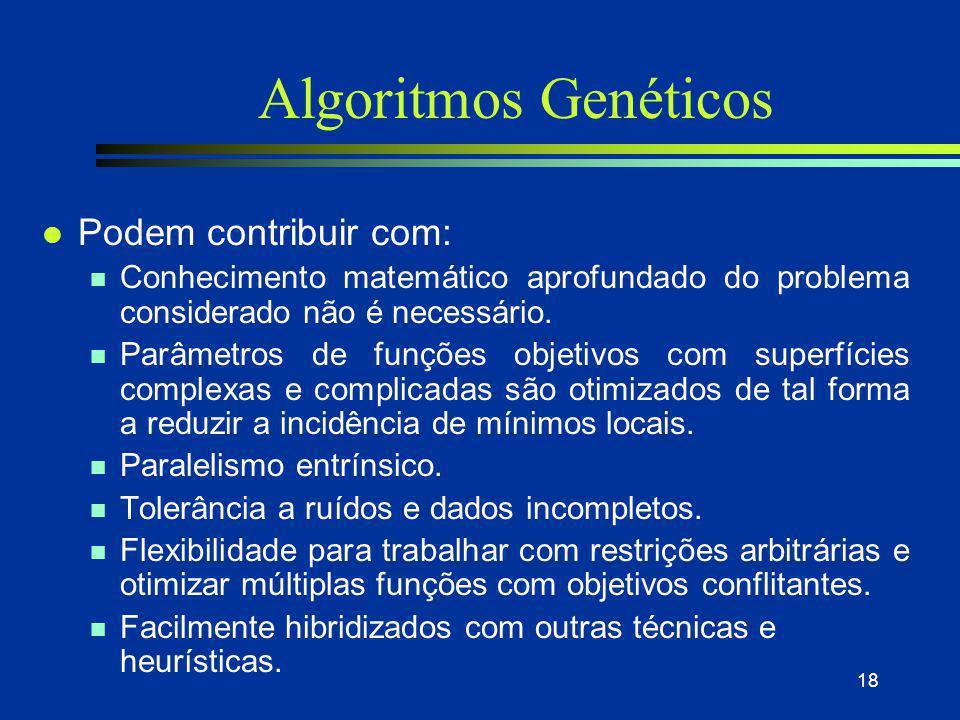 Algoritmos Genéticos Podem contribuir com: