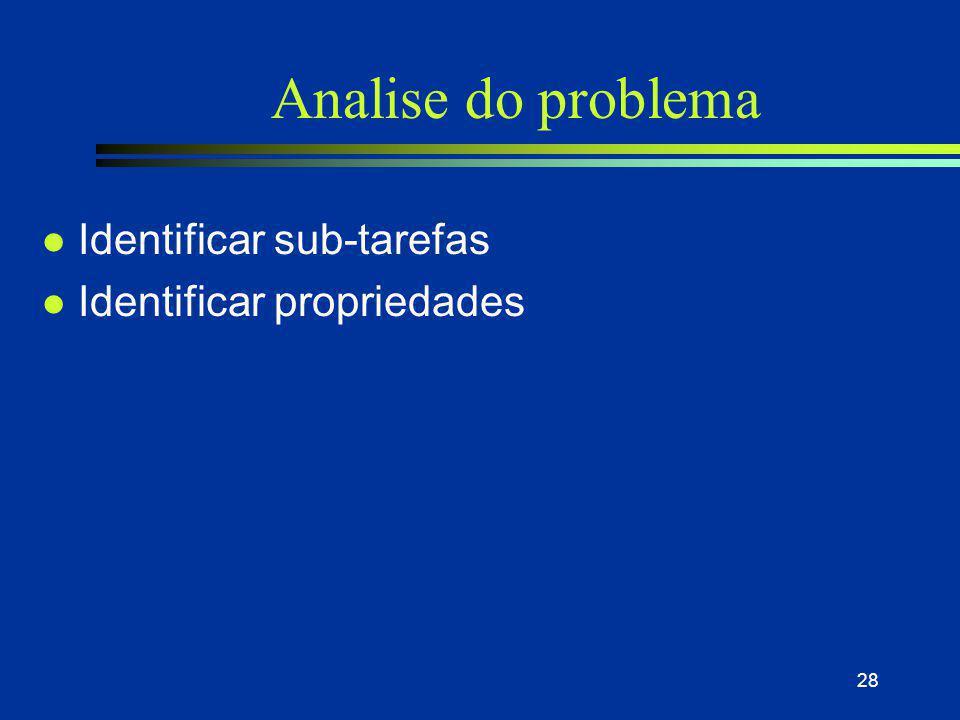 Analise do problema Identificar sub-tarefas Identificar propriedades