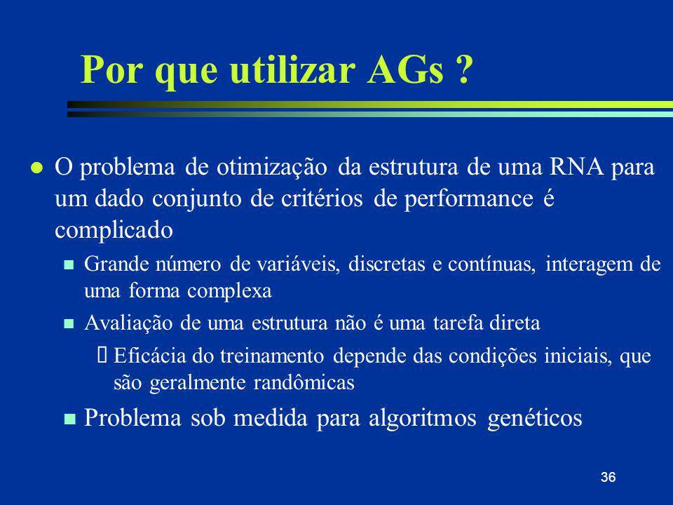 31/03/2017 Por que utilizar AGs O problema de otimização da estrutura de uma RNA para um dado conjunto de critérios de performance é complicado.