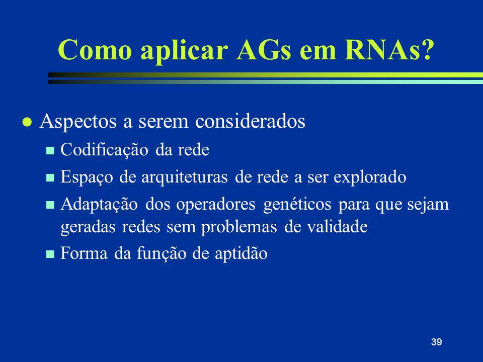 Como aplicar AGs em RNAs
