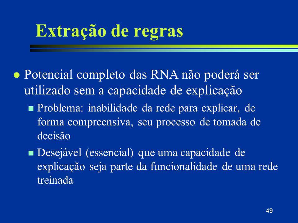 31/03/2017 Extração de regras. Potencial completo das RNA não poderá ser utilizado sem a capacidade de explicação.