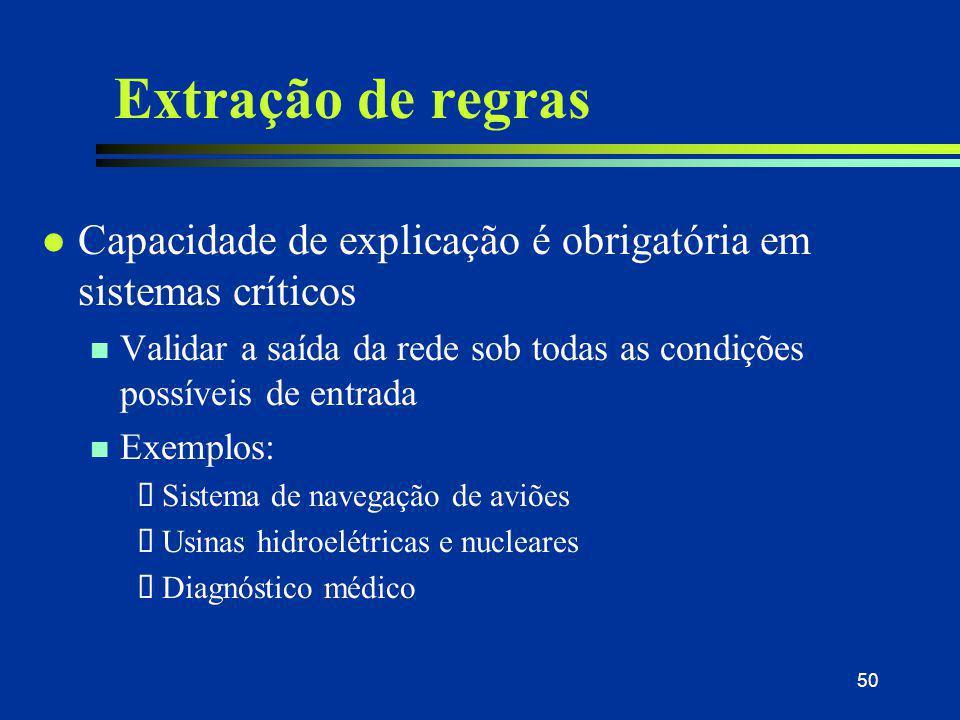 31/03/2017 Extração de regras. Capacidade de explicação é obrigatória em sistemas críticos.