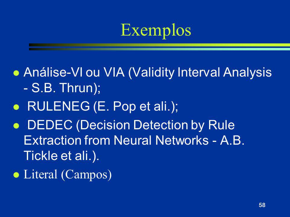 Exemplos Análise-VI ou VIA (Validity Interval Analysis - S.B. Thrun);