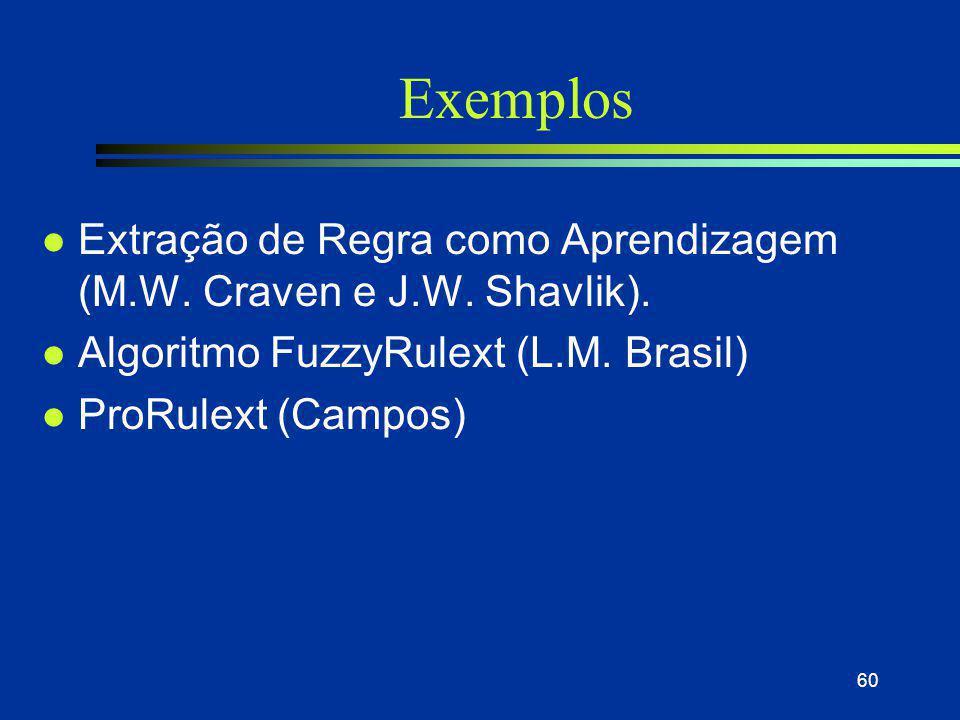Exemplos Extração de Regra como Aprendizagem (M.W. Craven e J.W. Shavlik). Algoritmo FuzzyRulext (L.M. Brasil)