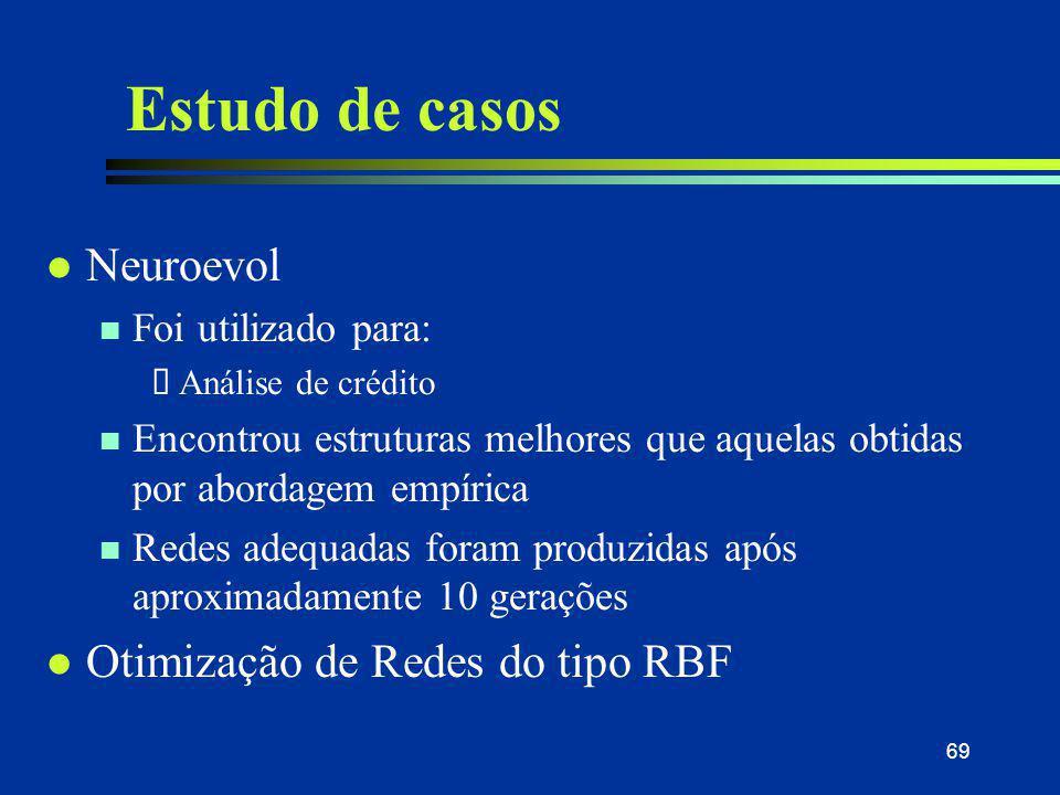 Estudo de casos Neuroevol Otimização de Redes do tipo RBF