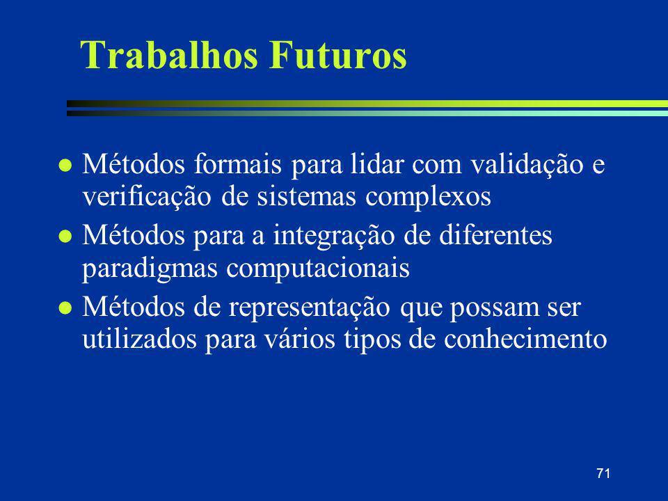 31/03/2017 Trabalhos Futuros. Métodos formais para lidar com validação e verificação de sistemas complexos.