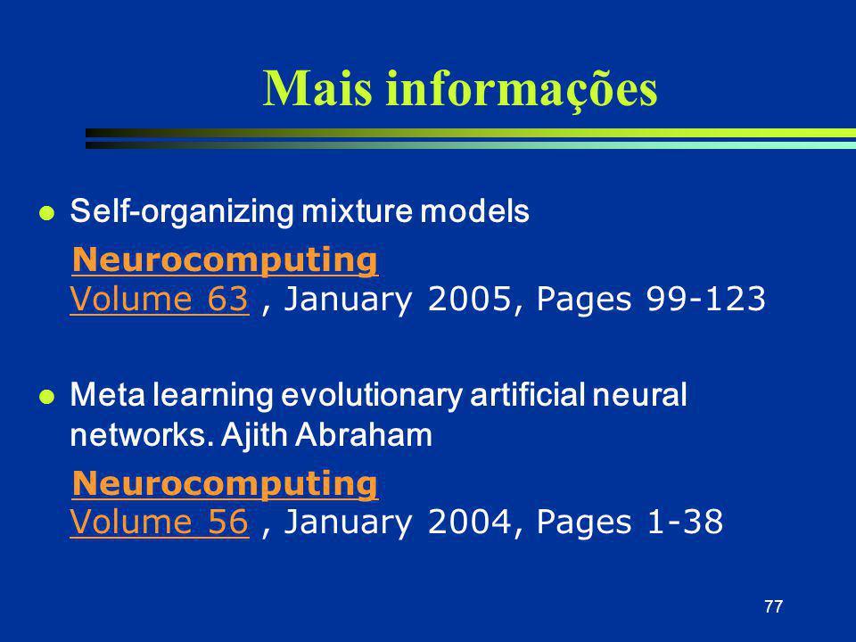 Mais informações Self-organizing mixture models