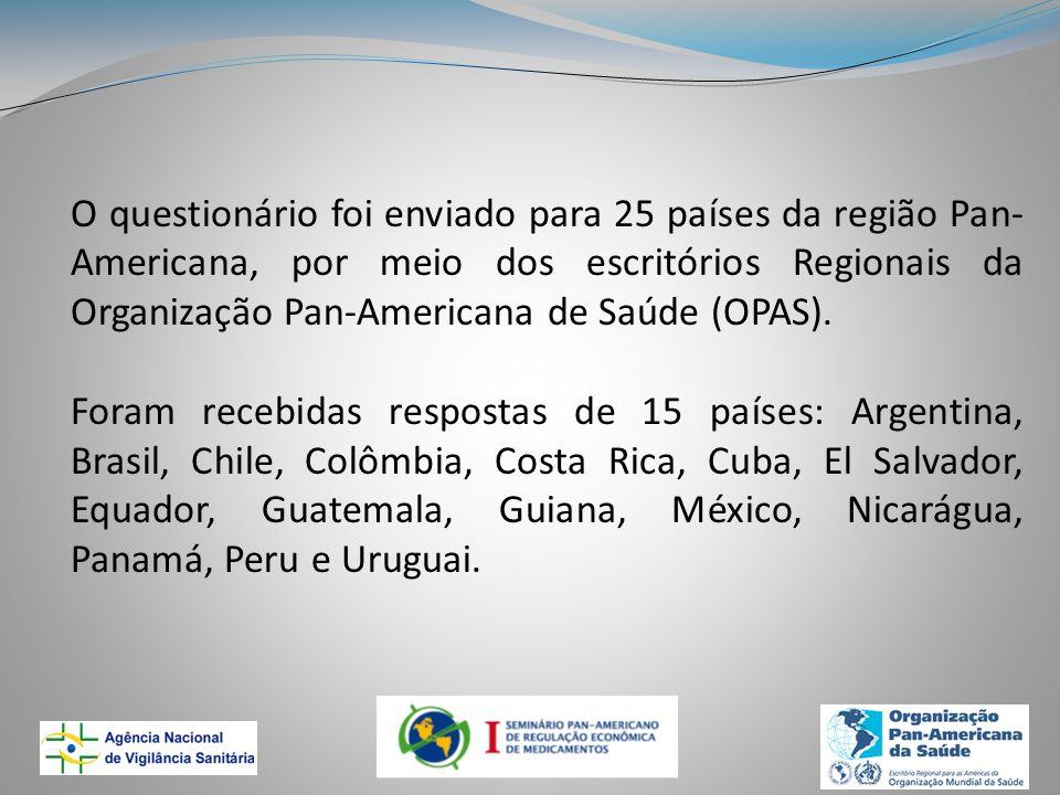 O questionário foi enviado para 25 países da região Pan-Americana, por meio dos escritórios Regionais da Organização Pan-Americana de Saúde (OPAS).