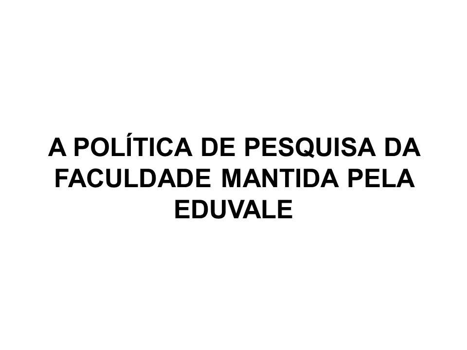 A POLÍTICA DE PESQUISA DA FACULDADE MANTIDA PELA EDUVALE