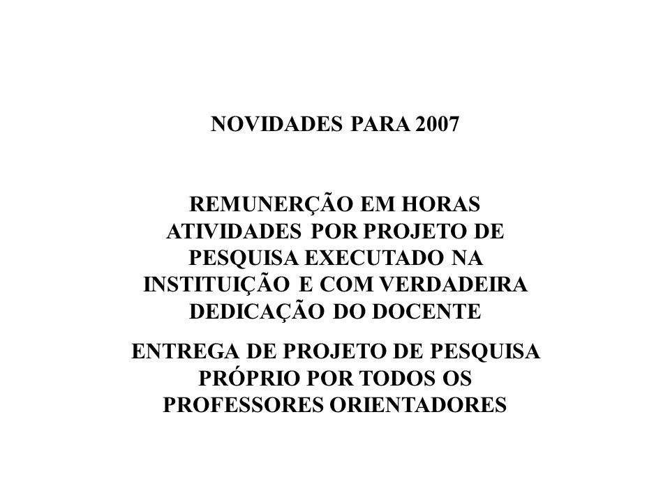 NOVIDADES PARA 2007 REMUNERÇÃO EM HORAS ATIVIDADES POR PROJETO DE PESQUISA EXECUTADO NA INSTITUIÇÃO E COM VERDADEIRA DEDICAÇÃO DO DOCENTE.